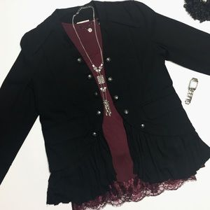 NWT JOLT Black Military Ruffle Jacket